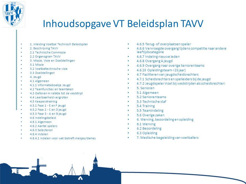 Inhoudsopgave VT Beleidsplan TAVV 1. Inleiding Voetbal Technisch Beleidsplan 2. Beschrijving TAVV 2.1 Technische Commissie 2.2 Organogram TAVV 3. Miss