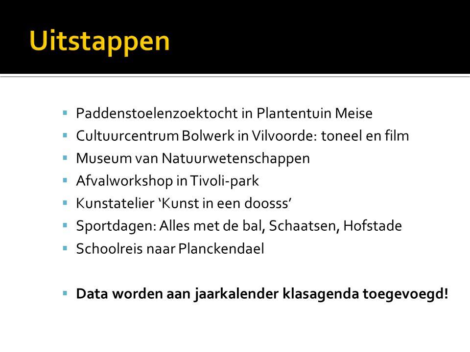  Paddenstoelenzoektocht in Plantentuin Meise  Cultuurcentrum Bolwerk in Vilvoorde: toneel en film  Museum van Natuurwetenschappen  Afvalworkshop i