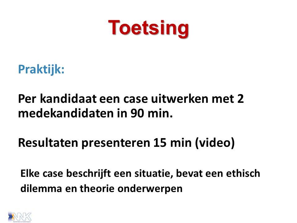 Toetsing Praktijk: Per kandidaat een case uitwerken met 2 medekandidaten in 90 min.