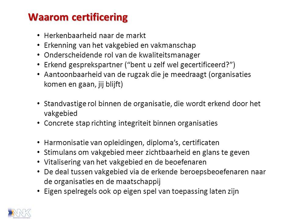 Waarom certificering Herkenbaarheid naar de markt Erkenning van het vakgebied en vakmanschap Onderscheidende rol van de kwaliteitsmanager Erkend gesprekspartner ( bent u zelf wel gecertificeerd ) Aantoonbaarheid van de rugzak die je meedraagt (organisaties komen en gaan, jij blijft) Standvastige rol binnen de organisatie, die wordt erkend door het vakgebied Concrete stap richting integriteit binnen organisaties Harmonisatie van opleidingen, diploma's, certificaten Stimulans om vakgebied meer zichtbaarheid en glans te geven Vitalisering van het vakgebied en de beoefenaren De deal tussen vakgebied via de erkende beroepsbeoefenaren naar de organisaties en de maatschappij Eigen spelregels ook op eigen spel van toepassing laten zijn