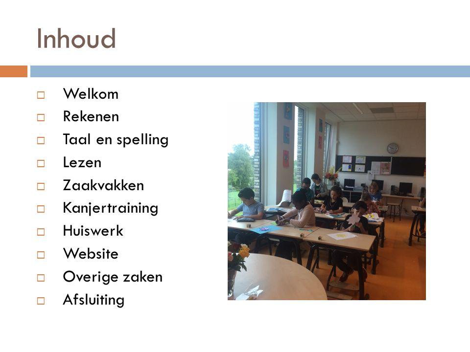 Inhoud  Welkom  Rekenen  Taal en spelling  Lezen  Zaakvakken  Kanjertraining  Huiswerk  Website  Overige zaken  Afsluiting
