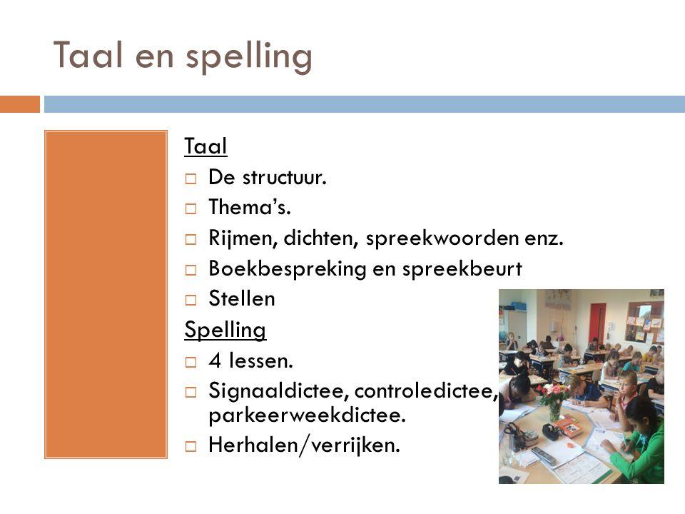 Taal en spelling Taal  De structuur.  Thema's.  Rijmen, dichten, spreekwoorden enz.  Boekbespreking en spreekbeurt  Stellen Spelling  4 lessen.