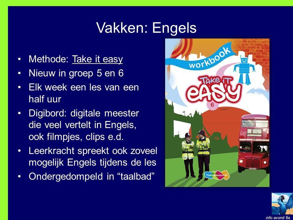 Vakken: Engels Methode: Take it easy Nieuw in groep 5 en 6 Elk week een les van een half uur Digibord: digitale meester die veel vertelt in Engels, ook filmpjes, clips e.d.