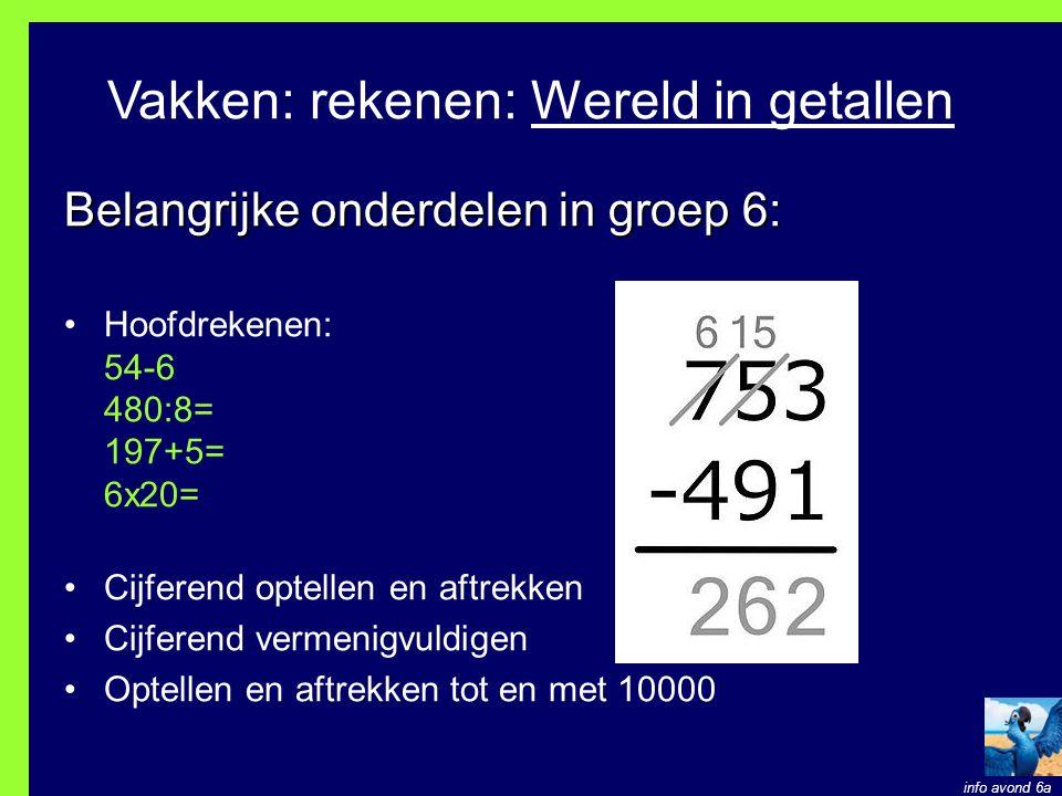 Vakken: rekenen: Wereld in getallen Belangrijke onderdelen in groep 6: Hoofdrekenen: 54-6 480:8= 197+5= 6x20= Cijferend optellen en aftrekken Cijferend vermenigvuldigen Optellen en aftrekken tot en met 10000 info avond 6a