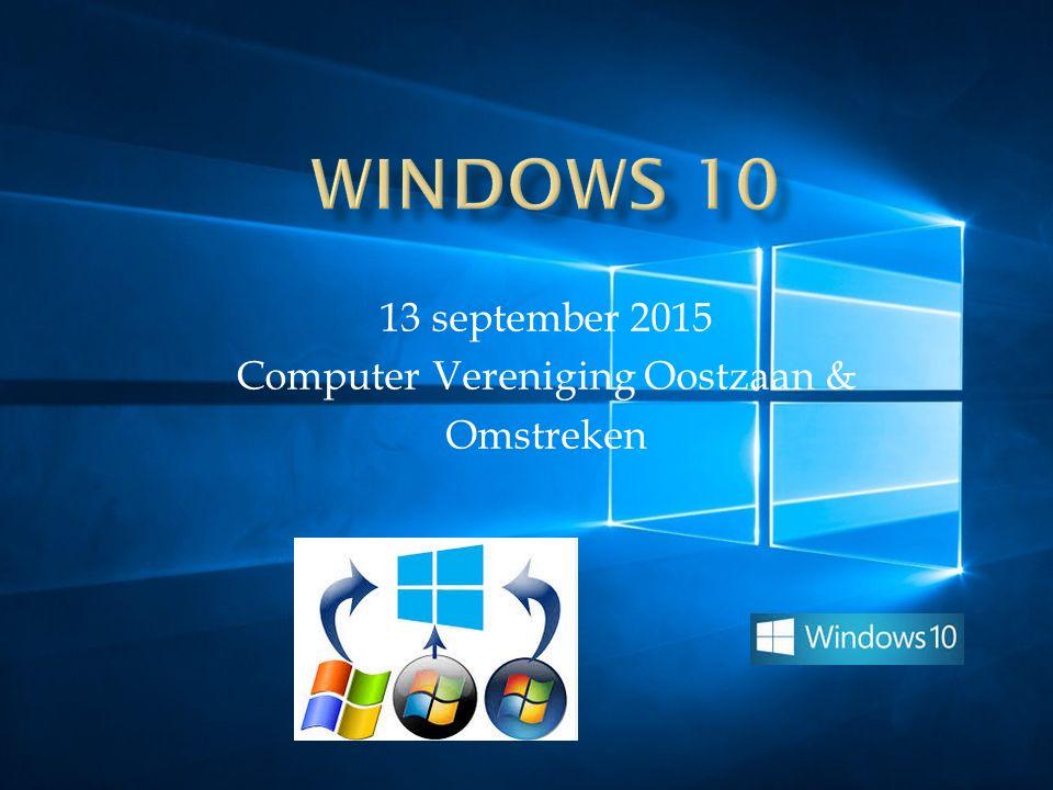 13 september 2015 Computer Vereniging Oostzaan & Omstreken