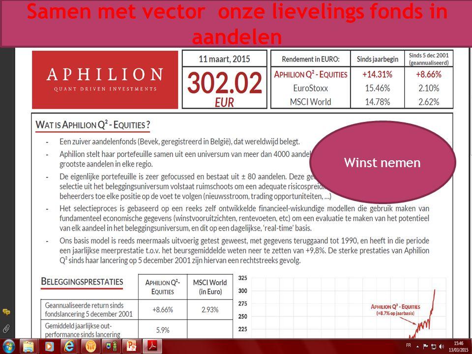 01/10/2015 38 Samen met vector onze lievelings fonds in aandelen Winst nemen
