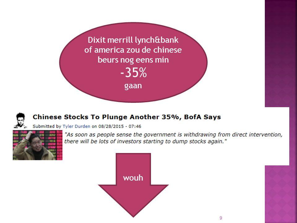 01/10/2015 9 Dixit merrill lynch&bank of america zou de chinese beurs nog eens min -35% gaan wouh
