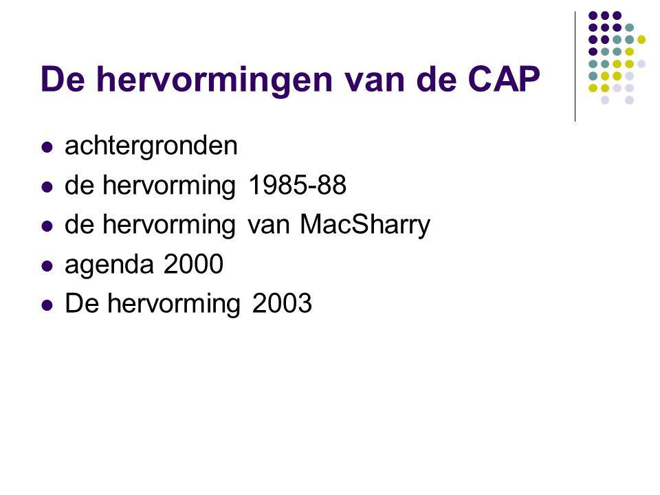 De hervormingen van de CAP achtergronden de hervorming 1985-88 de hervorming van MacSharry agenda 2000 De hervorming 2003