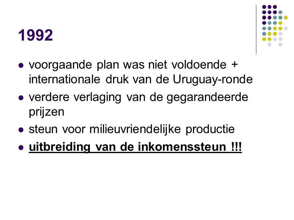 1992 voorgaande plan was niet voldoende + internationale druk van de Uruguay-ronde verdere verlaging van de gegarandeerde prijzen steun voor milieuvri