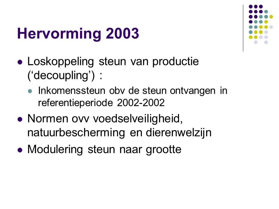 Hervorming 2003 Loskoppeling steun van productie ('decoupling') : Inkomenssteun obv de steun ontvangen in referentieperiode 2002-2002 Normen ovv voeds