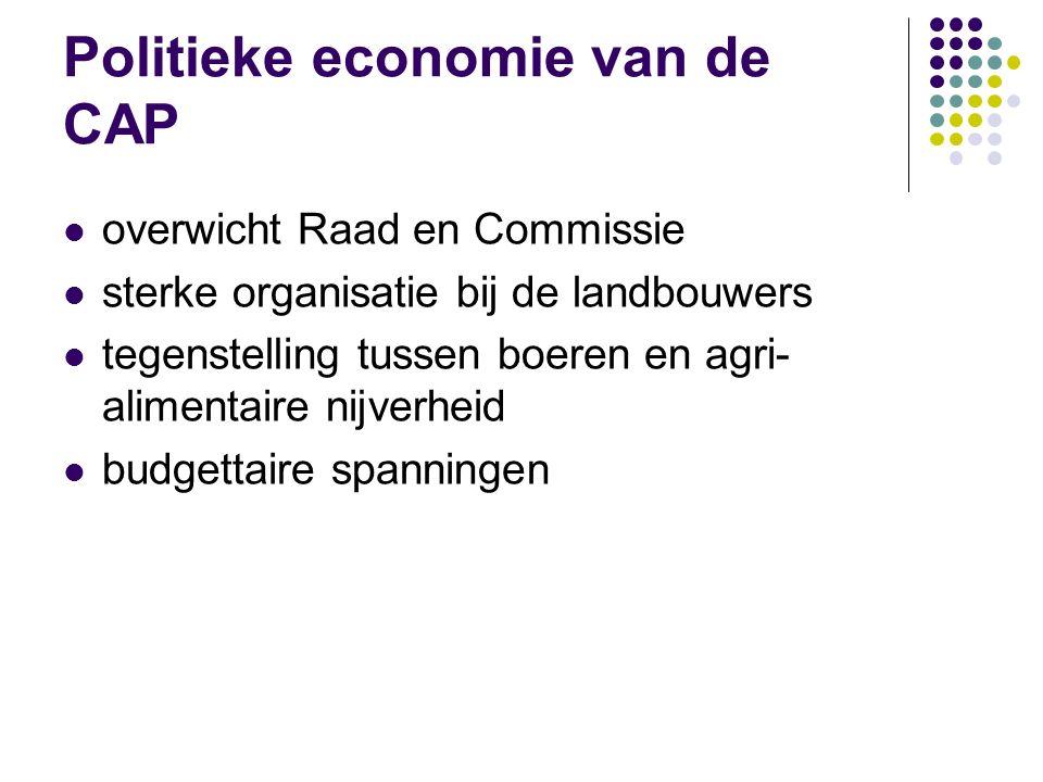 Politieke economie van de CAP overwicht Raad en Commissie sterke organisatie bij de landbouwers tegenstelling tussen boeren en agri- alimentaire nijve