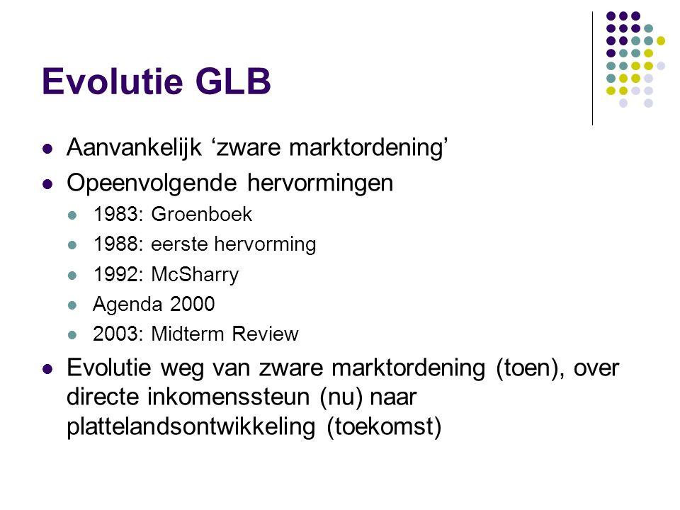 Evolutie GLB Aanvankelijk 'zware marktordening' Opeenvolgende hervormingen 1983: Groenboek 1988: eerste hervorming 1992: McSharry Agenda 2000 2003: Mi