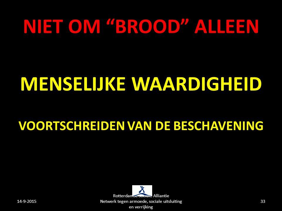NIET OM BROOD ALLEEN MENSELIJKE WAARDIGHEID VOORTSCHREIDEN VAN DE BESCHAVENING 14-9-2015 Rotterdamse Sociale Alliantie Netwerk tegen armoede, sociale uitsluiting en verrijking 33