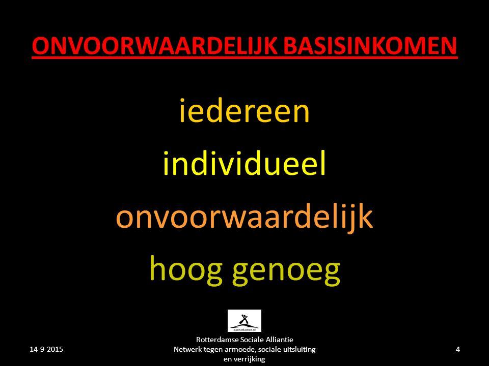 ONVOORWAARDELIJK BASISINKOMEN iedereen individueel onvoorwaardelijk hoog genoeg 14-9-20154 Rotterdamse Sociale Alliantie Netwerk tegen armoede, sociale uitsluiting en verrijking