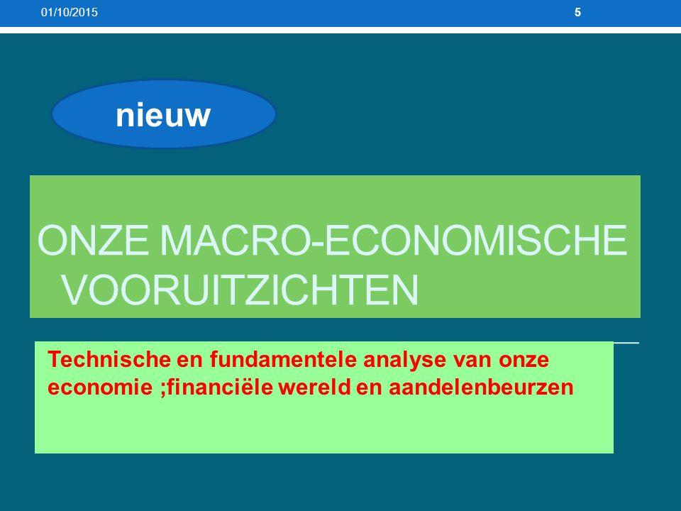 ONZE MACRO-ECONOMISCHE VOORUITZICHTEN Technische en fundamentele analyse van onze economie ;financiële wereld en aandelenbeurzen 01/10/20155 nieuw