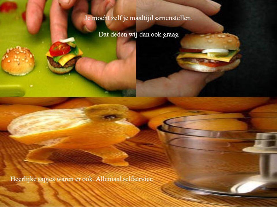 Je mocht zelf je maaltijd samenstellen. Dat deden wij dan ook graag Heerlijke sapjes waren er ook.