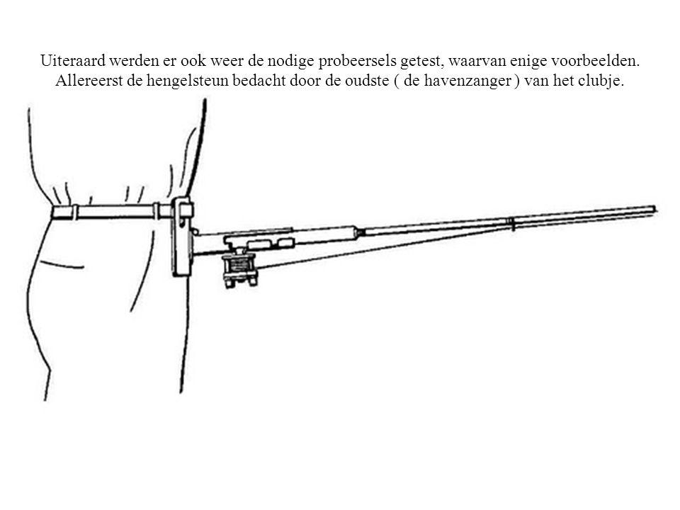Uiteraard werden er ook weer de nodige probeersels getest, waarvan enige voorbeelden. Allereerst de hengelsteun bedacht door de oudste ( de havenzange