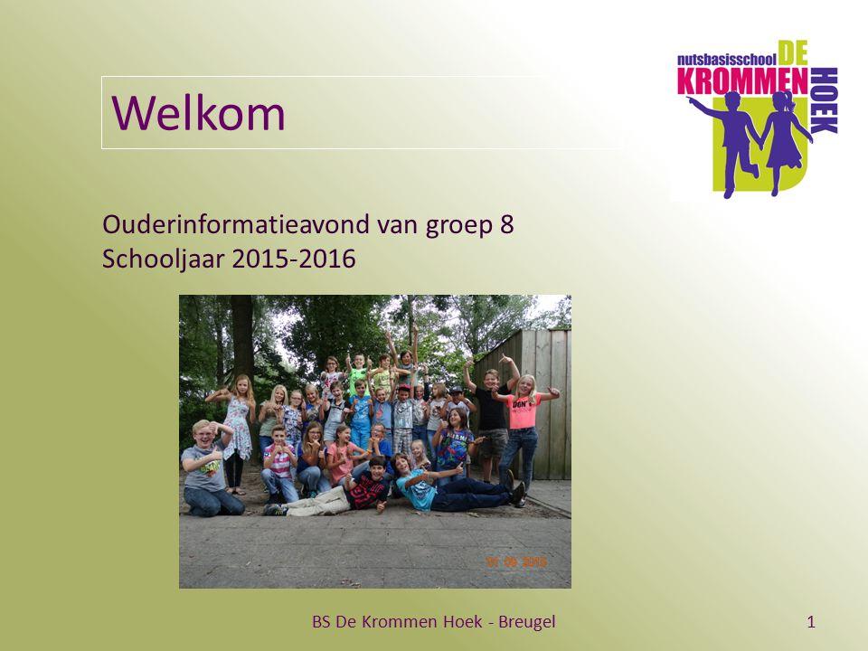 BS De Krommen Hoek - Breugel1 Welkom Ouderinformatieavond van groep 8 Schooljaar 2015-2016