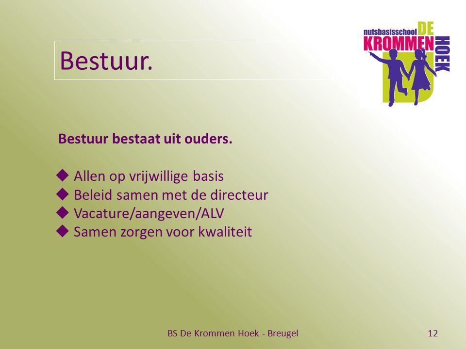 BS De Krommen Hoek - Breugel12 Bestuur. Bestuur bestaat uit ouders.  Allen op vrijwillige basis  Beleid samen met de directeur  Vacature/aangeven/A