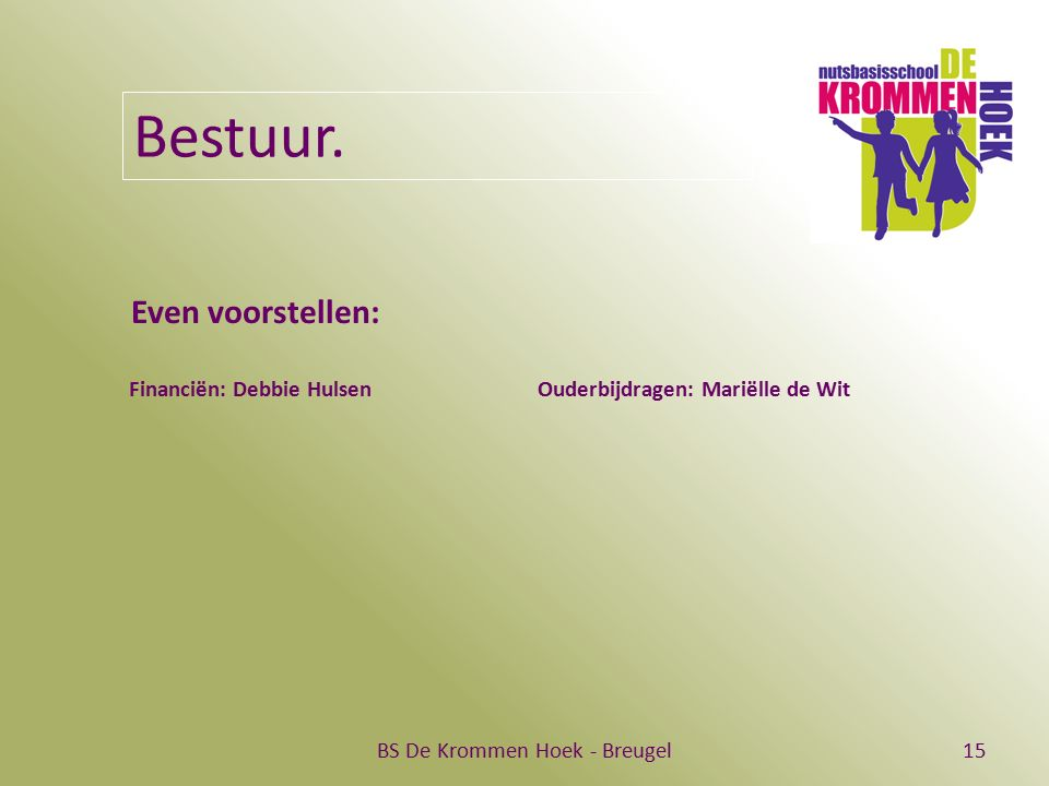 BS De Krommen Hoek - Breugel15 Bestuur. Even voorstellen: Financiën: Debbie Hulsen Ouderbijdragen: Mariëlle de Wit