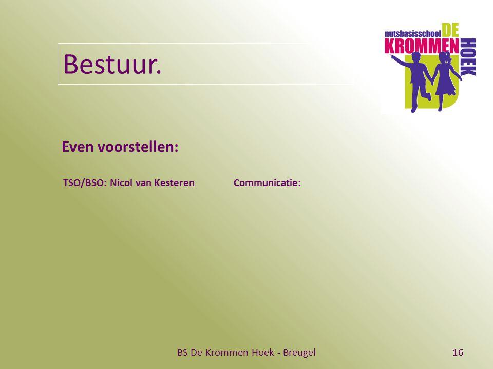 BS De Krommen Hoek - Breugel16 Bestuur. Even voorstellen: TSO/BSO: Nicol van Kesteren Communicatie:
