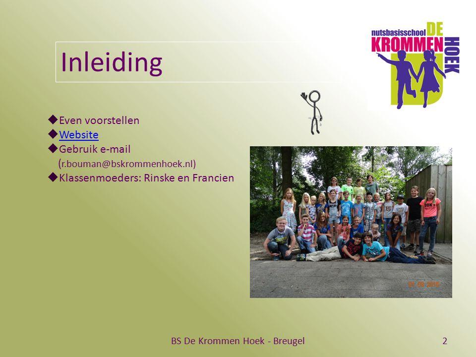 BS De Krommen Hoek - Breugel2 Inleiding  Even voorstellen  Website Website  Gebruik e-mail ( r.bouman@bskrommenhoek.nl)  Klassenmoeders: Rinske en