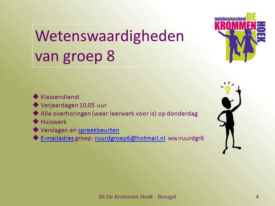 BS De Krommen Hoek - Breugel4 Wetenswaardigheden van groep 8  Klassendienst  Verjaardagen 10.05 uur  Alle overhoringen (waar leerwerk voor is) op d