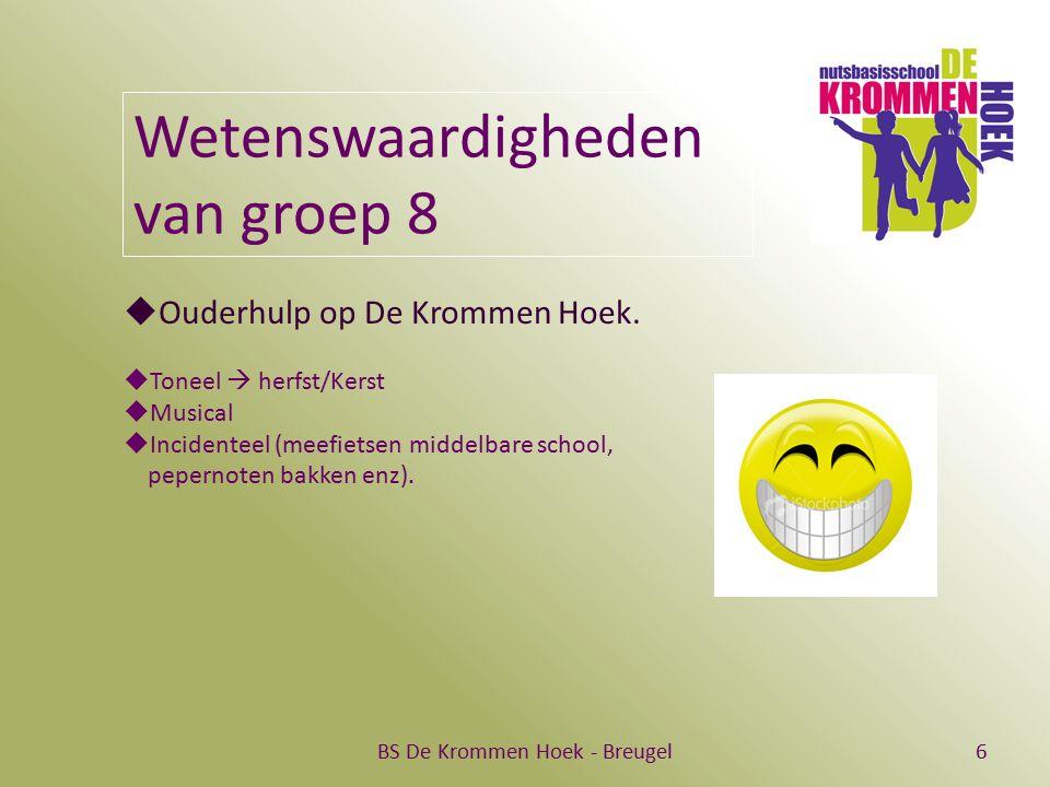 BS De Krommen Hoek - Breugel6 Wetenswaardigheden van groep 8  Ouderhulp op De Krommen Hoek.  Toneel  herfst/Kerst  Musical  Incidenteel (meefiets