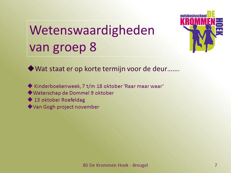 BS De Krommen Hoek - Breugel7 Wetenswaardigheden van groep 8  Wat staat er op korte termijn voor de deur…….  Kinderboekenweek, 7 t/m 18 oktober 'Raa