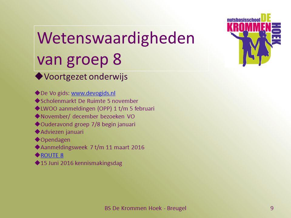 BS De Krommen Hoek - Breugel9 Wetenswaardigheden van groep 8  Voortgezet onderwijs  De Vo gids: www.devogids.nlwww.devogids.nl  Scholenmarkt De Rui