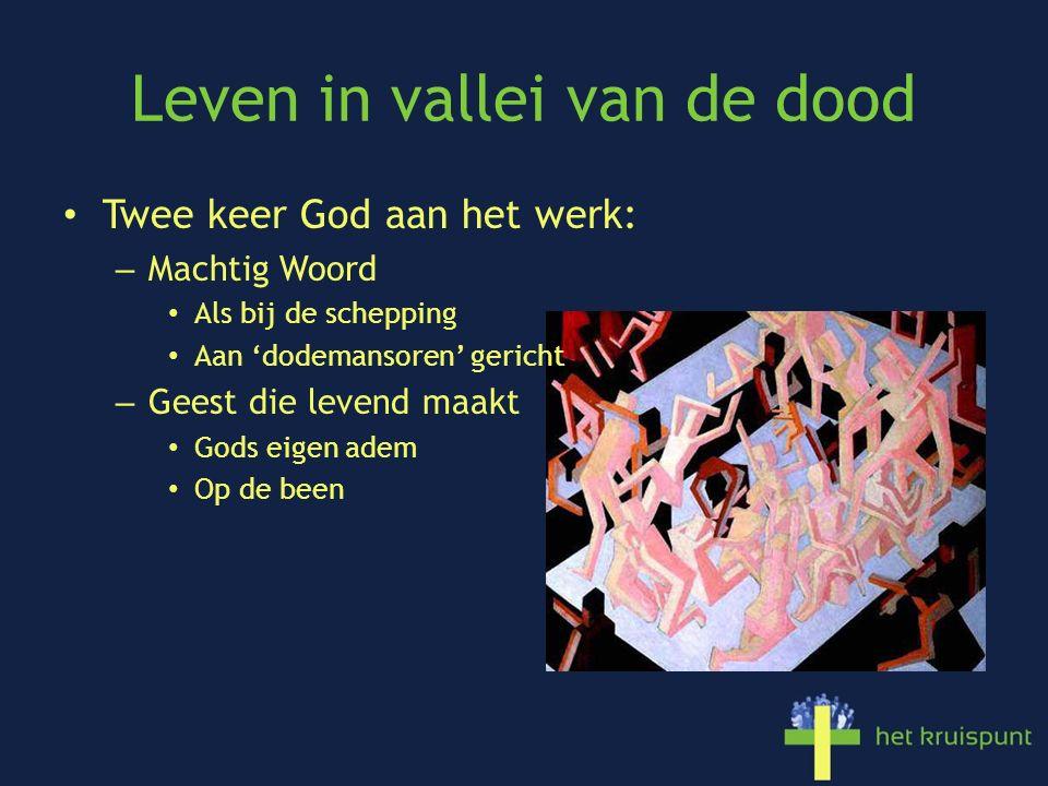 Leven in vallei van de dood Twee keer God aan het werk: – Machtig Woord Als bij de schepping Aan 'dodemansoren' gericht – Geest die levend maakt Gods eigen adem Op de been