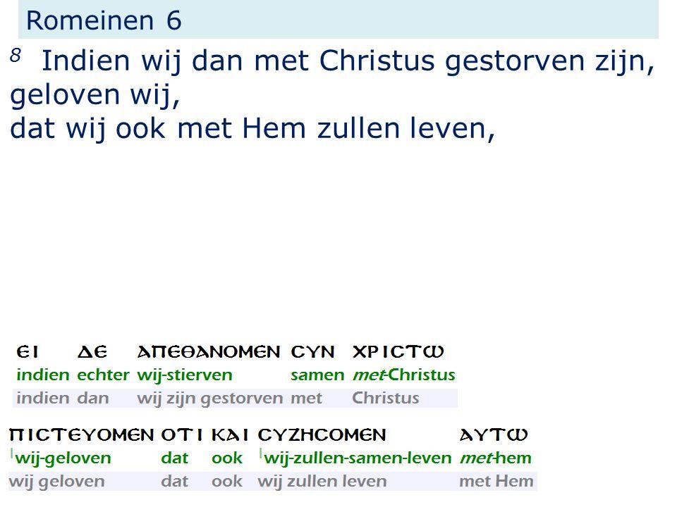 8 Indien wij dan met Christus gestorven zijn, geloven wij, dat wij ook met Hem zullen leven, Romeinen 6