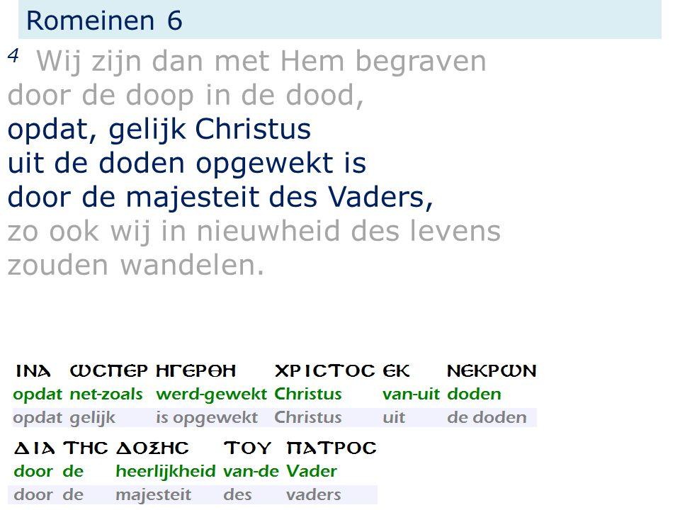 4 Wij zijn dan met Hem begraven door de doop in de dood, opdat, gelijk Christus uit de doden opgewekt is door de majesteit des Vaders, zo ook wij in n