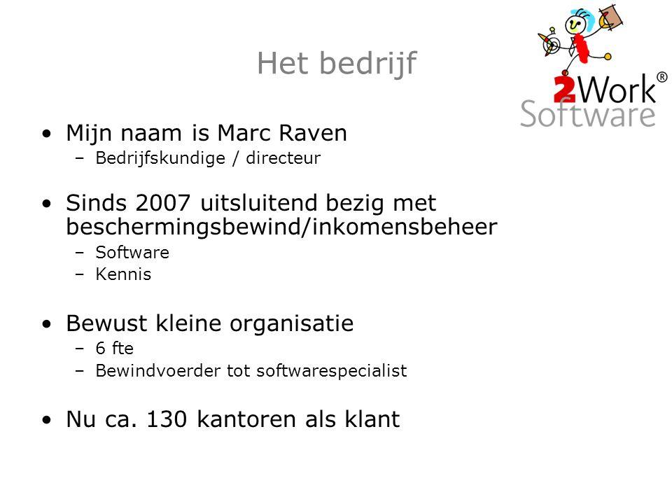 Het bedrijf Mijn naam is Marc Raven –Bedrijfskundige / directeur Sinds 2007 uitsluitend bezig met beschermingsbewind/inkomensbeheer –Software –Kennis Bewust kleine organisatie –6 fte –Bewindvoerder tot softwarespecialist Nu ca.