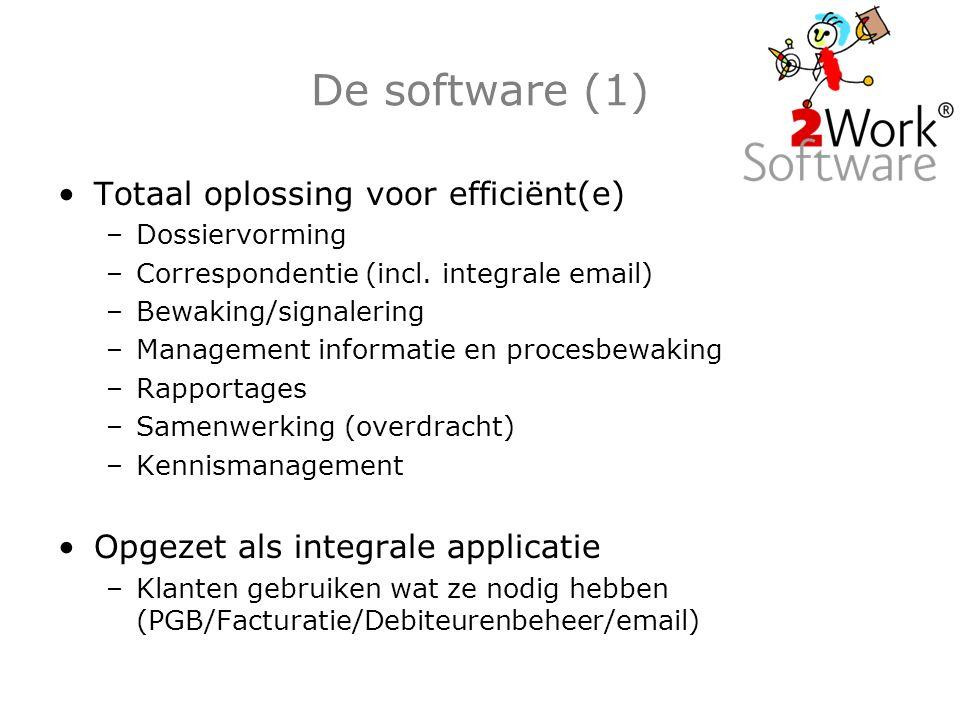 De software (1) Totaal oplossing voor efficiënt(e) –Dossiervorming –Correspondentie (incl.