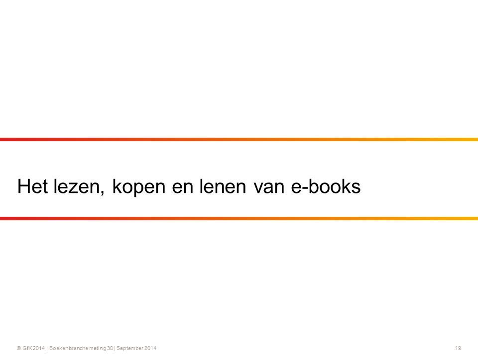 © GfK 2014 | Boekenbranche meting 30 | September 2014 19 Het lezen, kopen en lenen van e-books