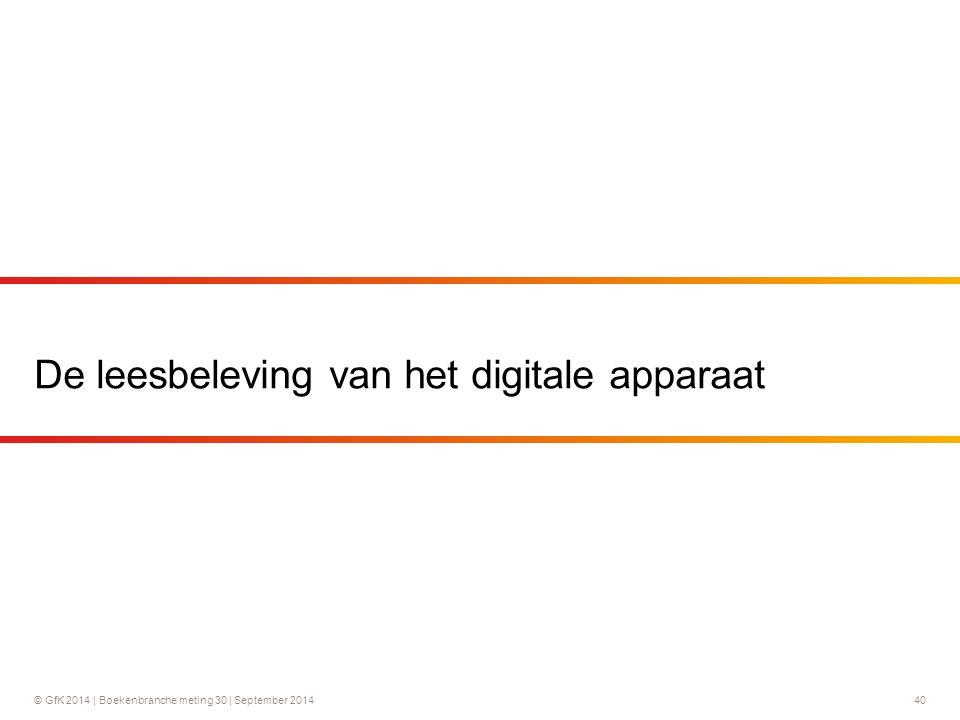 © GfK 2014 | Boekenbranche meting 30 | September 2014 40 De leesbeleving van het digitale apparaat
