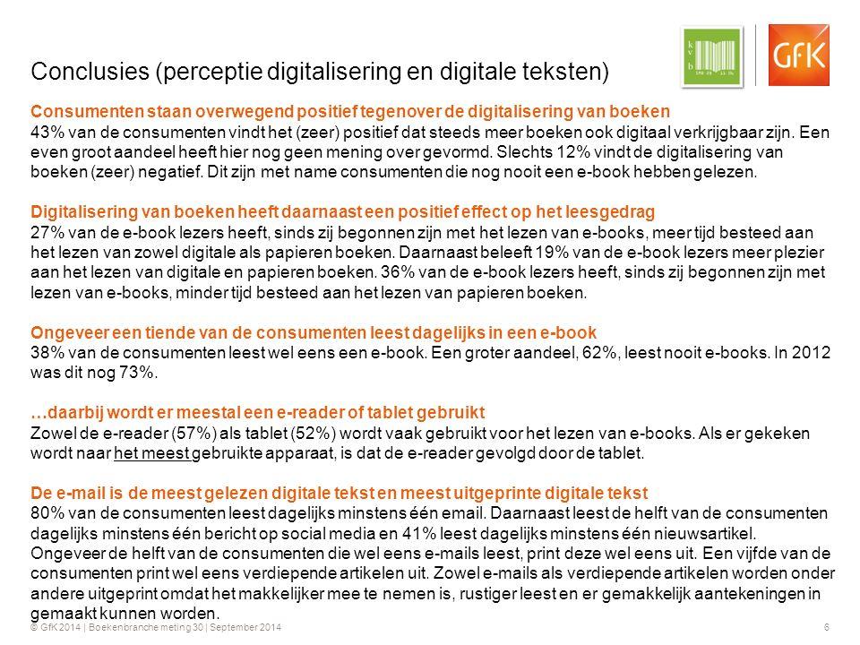 © GfK 2014 | Boekenbranche meting 30 | September 2014 6 Conclusies (perceptie digitalisering en digitale teksten) Consumenten staan overwegend positief tegenover de digitalisering van boeken 43% van de consumenten vindt het (zeer) positief dat steeds meer boeken ook digitaal verkrijgbaar zijn.
