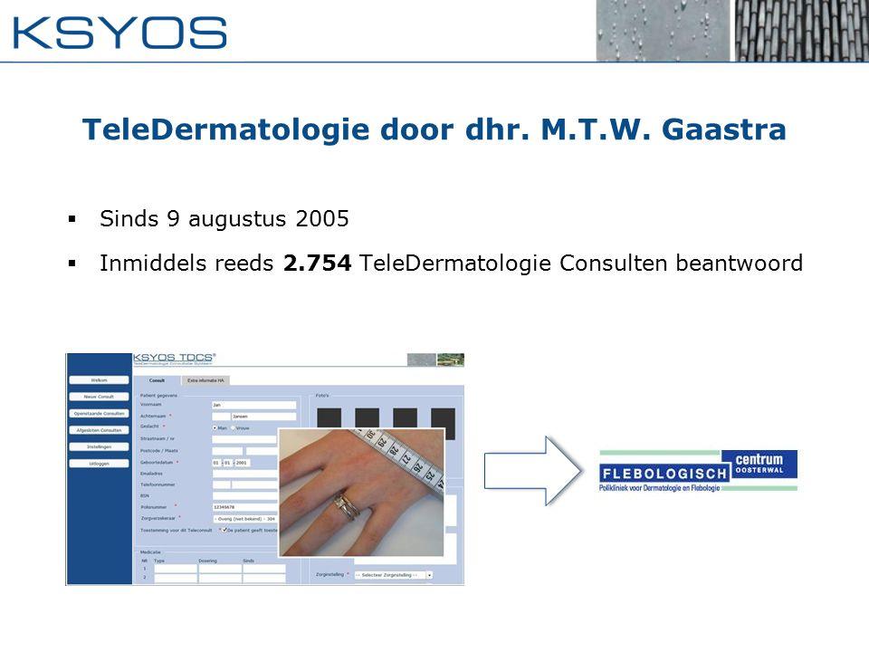 TeleDermatologie door dhr. M.T.W. Gaastra  Sinds 9 augustus 2005  Inmiddels reeds 2.754 TeleDermatologie Consulten beantwoord