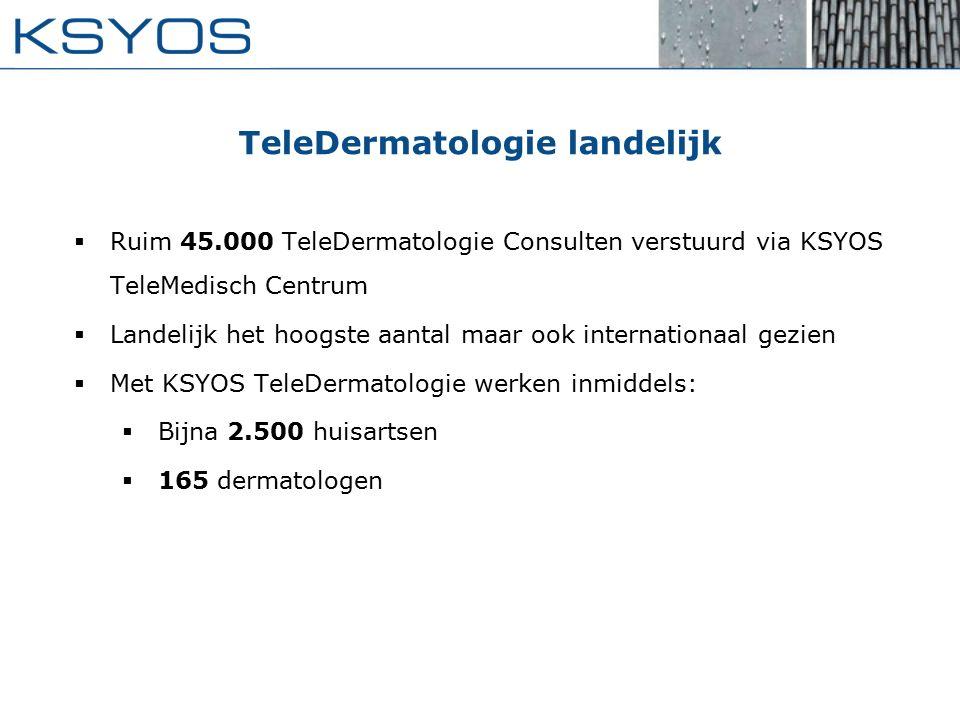 TeleDermatologie landelijk  Ruim 45.000 TeleDermatologie Consulten verstuurd via KSYOS TeleMedisch Centrum  Landelijk het hoogste aantal maar ook internationaal gezien  Met KSYOS TeleDermatologie werken inmiddels:  Bijna 2.500 huisartsen  165 dermatologen