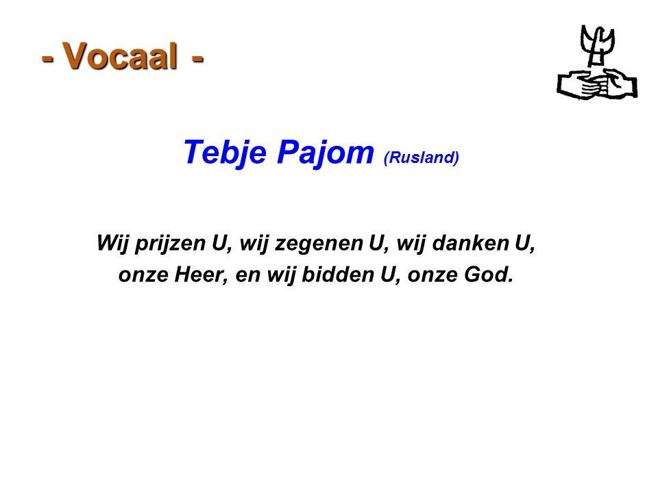 - Vocaal - Tebje Pajom (Rusland) Wij prijzen U, wij zegenen U, wij danken U, onze Heer, en wij bidden U, onze God.