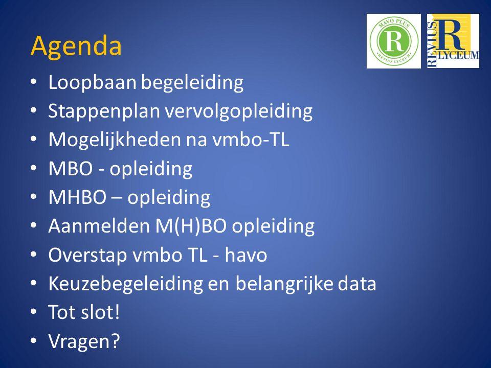Agenda Loopbaan begeleiding Stappenplan vervolgopleiding Mogelijkheden na vmbo-TL MBO - opleiding MHBO – opleiding Aanmelden M(H)BO opleiding Overstap vmbo TL - havo Keuzebegeleiding en belangrijke data Tot slot.
