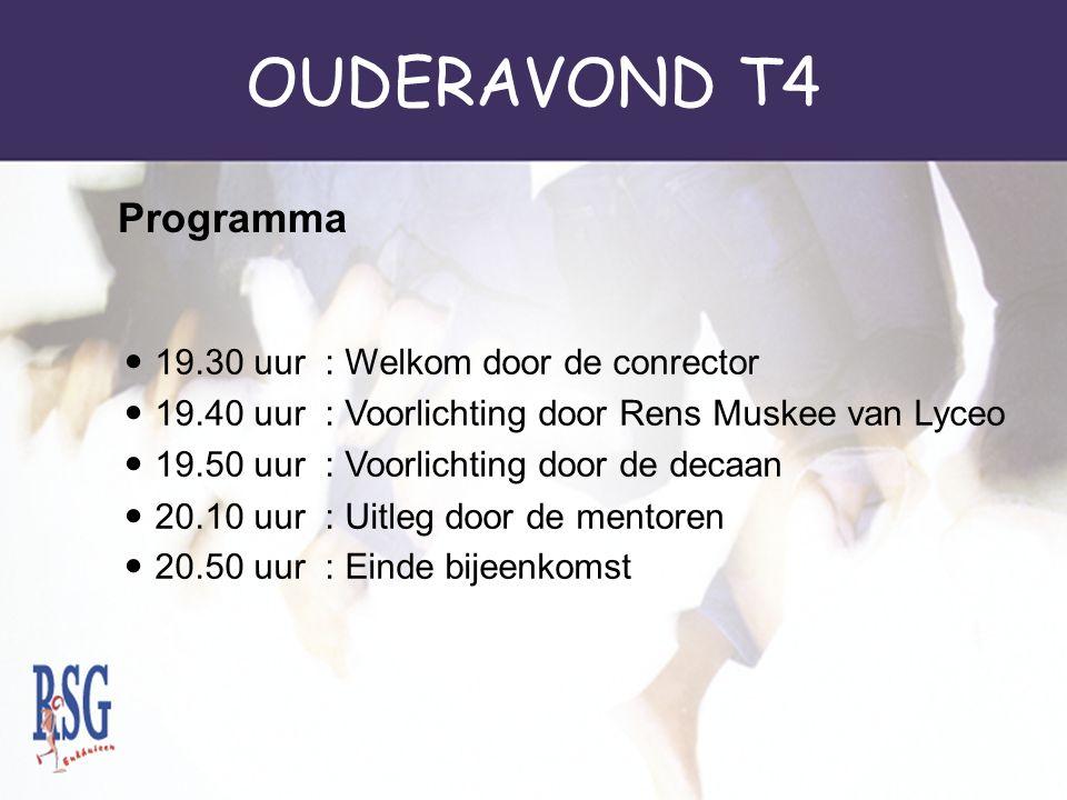 OUDERAVOND T4 T4a: Jan Sachs(0.22) T4b: Ruth van de Nes (0.23) T4c: Helen Sasbrink (0.24) T4d: John Stroomer (0.25) T4e: Germaine de Graaf (0.26) Deca
