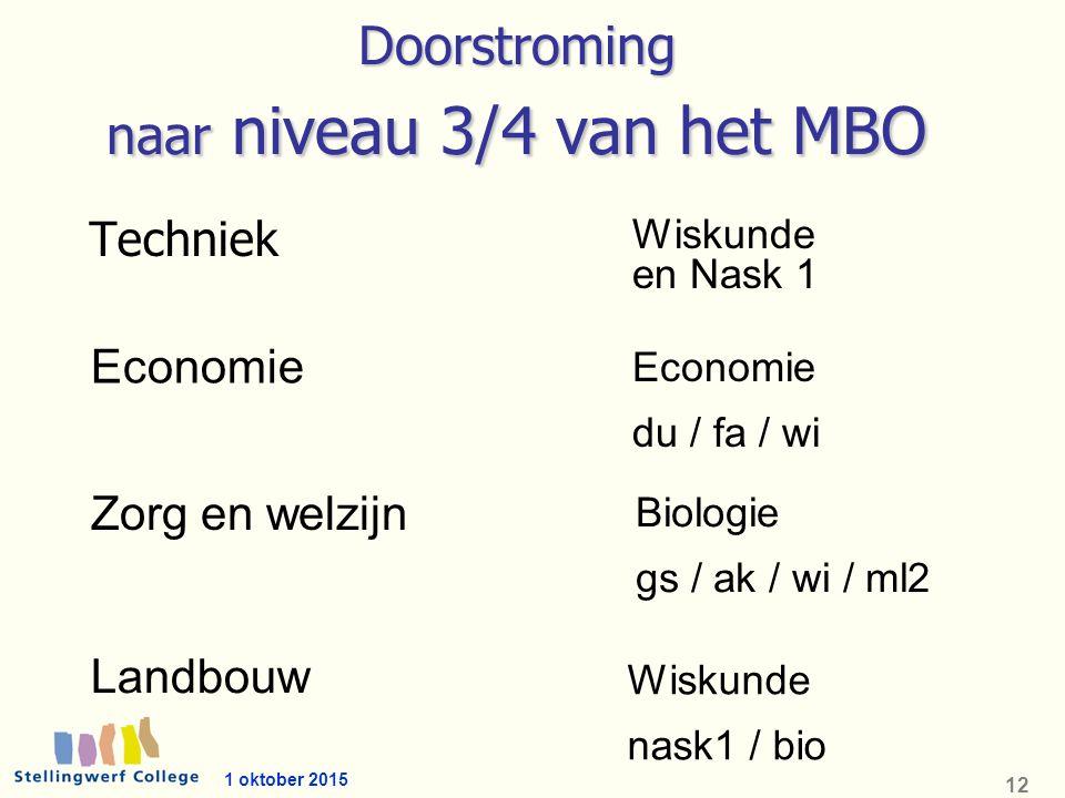 1 oktober 2015 12 Doorstroming naar niveau 3/4 van het MBO Techniek Economie Zorg en welzijn Landbouw Economie du / fa / wi Biologie gs / ak / wi / ml