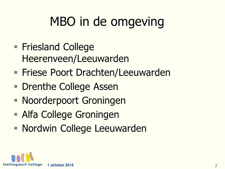 1 oktober 2015 7 MBO in de omgeving  Friesland College Heerenveen/Leeuwarden  Friese Poort Drachten/Leeuwarden  Drenthe College Assen  Noorderpoort Groningen  Alfa College Groningen  Nordwin College Leeuwarden