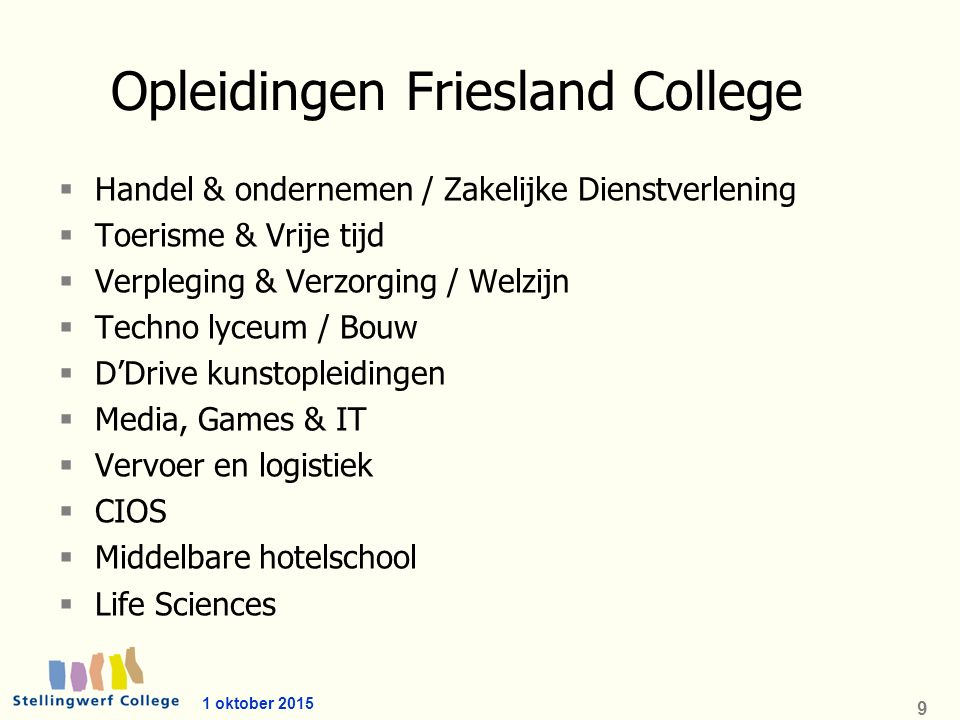 9 Opleidingen Friesland College  Handel & ondernemen / Zakelijke Dienstverlening  Toerisme & Vrije tijd  Verpleging & Verzorging / Welzijn  Techno lyceum / Bouw  D'Drive kunstopleidingen  Media, Games & IT  Vervoer en logistiek  CIOS  Middelbare hotelschool  Life Sciences