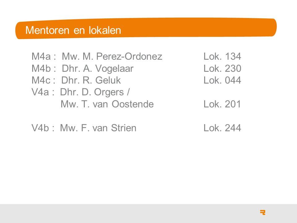 Mentoren en lokalen M4a : Mw.M. Perez-OrdonezLok.