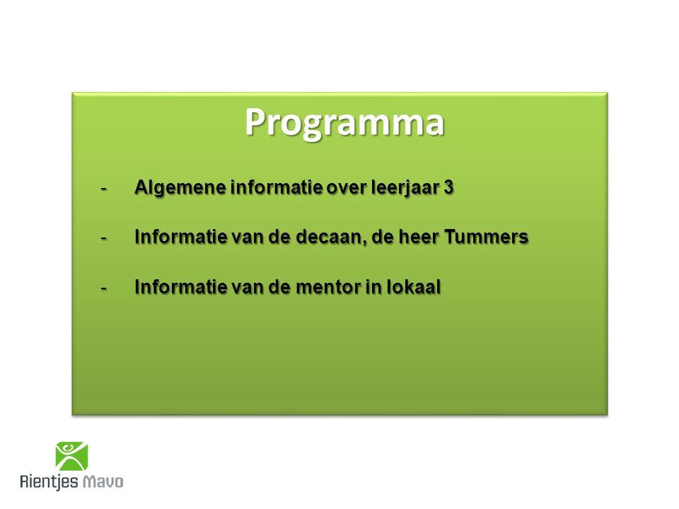 ProgrammaProgramma -Algemene informatie over leerjaar 3 -Informatie van de decaan, de heer Tummers -Informatie van de mentor in lokaal