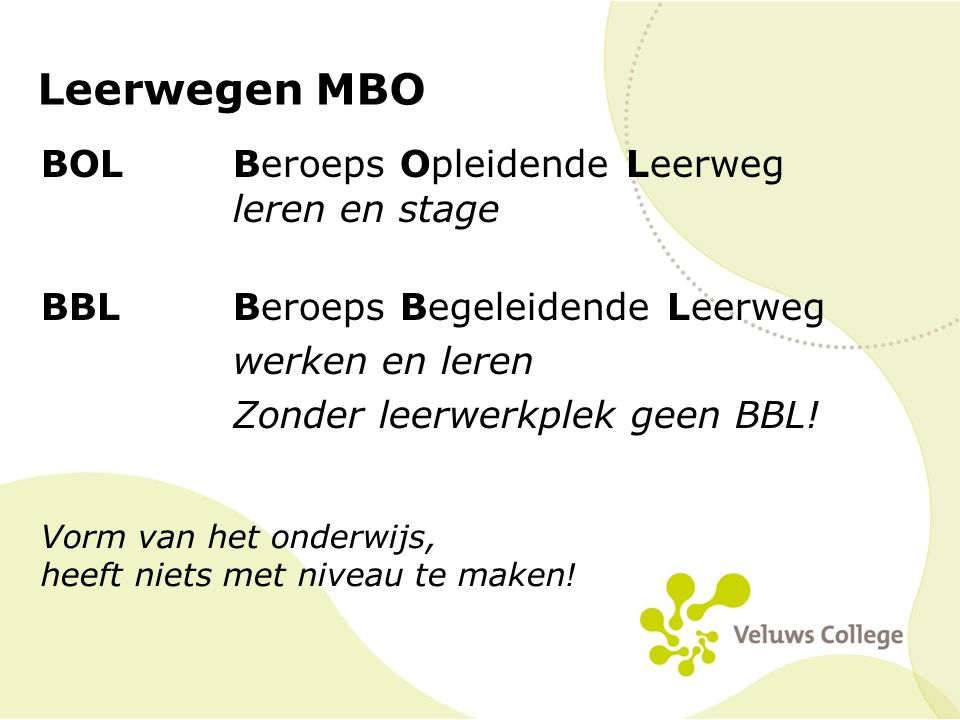 Leerwegen MBO BOLBeroeps Opleidende Leerweg leren en stage BBLBeroeps Begeleidende Leerweg werken en leren Zonder leerwerkplek geen BBL! Vorm van het
