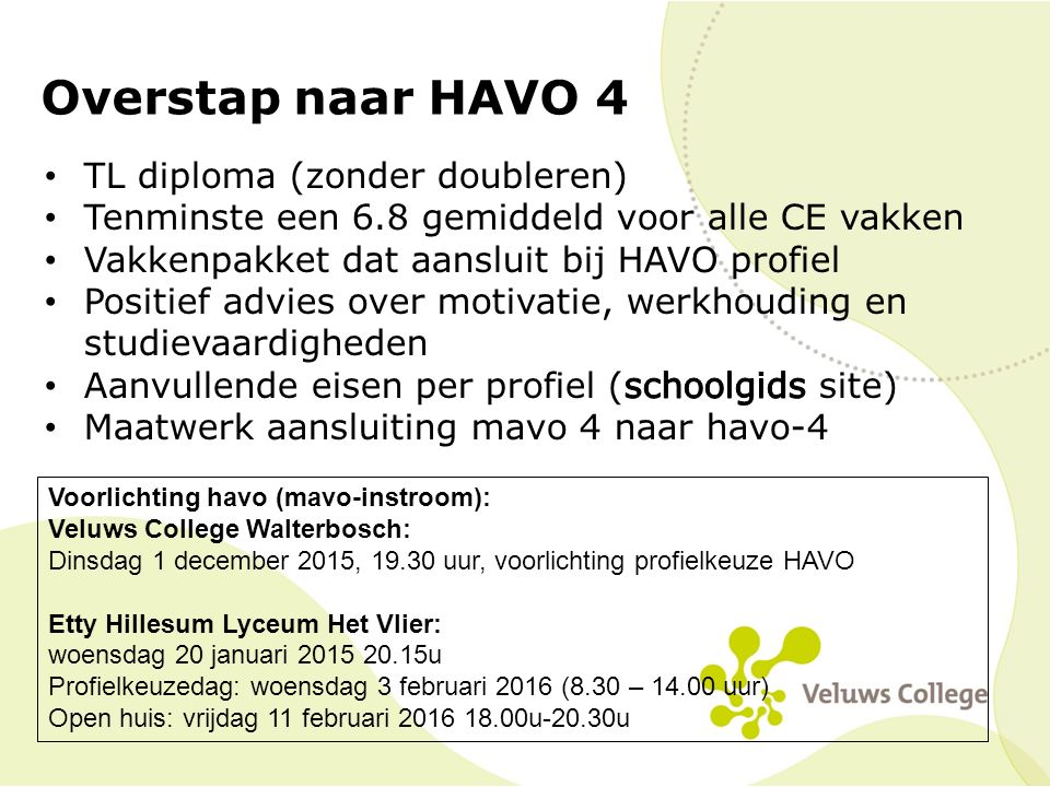 Overstap naar HAVO 4 Voorlichting havo (mavo-instroom): Veluws College Walterbosch: Dinsdag 1 december 2015, 19.30 uur, voorlichting profielkeuze HAVO